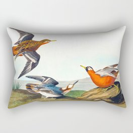 Red Phalarope Bird Rectangular Pillow