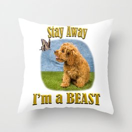 Stay away, I'm a beast Throw Pillow