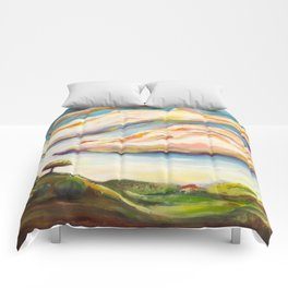 Color clouds in the valey Comforters