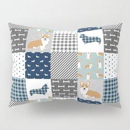 Corgi Patchwork Print - navy, dog, buffalo plaid, plaid, mens corgi dog Pillow Sham