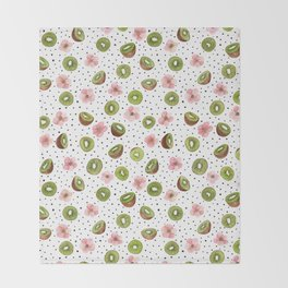 Kiwis with blush pink flowers and black dots watercolor Throw Blanket