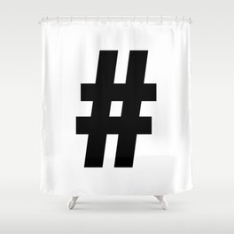 Hash Sign (Black & White) Shower Curtain