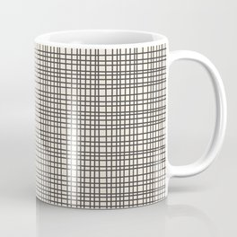 Fine Weave Mid-Century Modern Woven Pattern in Charcoal Gray and Almond Cream Coffee Mug