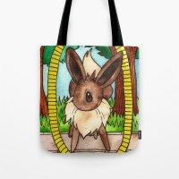 eevee Tote Bags featuring Eeveevolution Series - Eevee by Jazmine Phillips