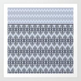Art Deco .  Gray blue with black combo pattern . Art Print