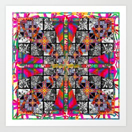 Criss Cross pattern hot pink Art Print
