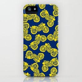 Motorcycles Linocut Yellow Gold Navy Blue iPhone Case