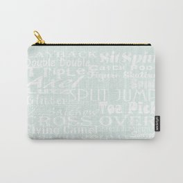 Pastel Blue Figure Skating Subway Style Typographic Design Carry-All Pouch