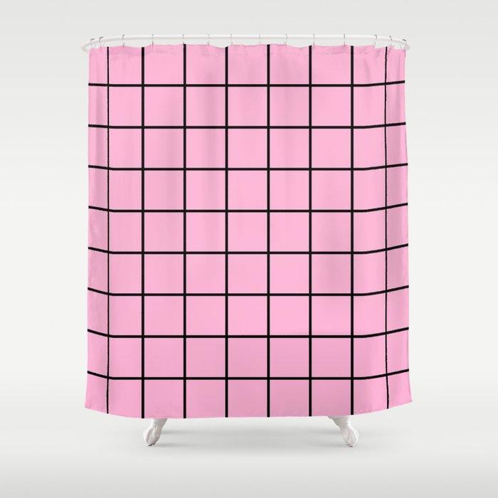 Rose Quartz Grid Shower Curtain
