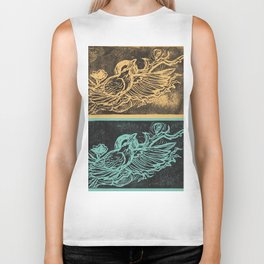 Midnight Raven Turquoise and Gold Biker Tank