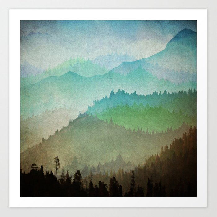 Watercolor Hills Art Print