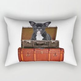 Frenchie French Bulldog - old suitcases -  Rectangular Pillow