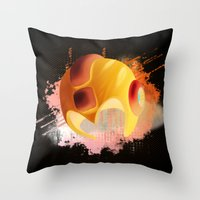 mega man Throw Pillows featuring Mega Man by Head Glitch