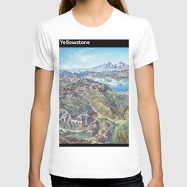 Sky Panorama Map of Yellowstone National Park with label T-shirt