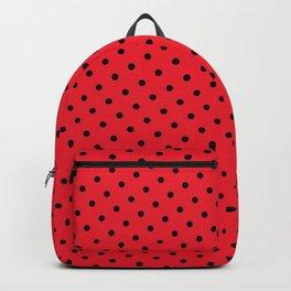 Kissy Flame Kissed Lipstick Retro Red Polka Dot (Black) Backpack