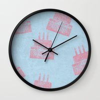 happy birthday Wall Clocks featuring Happy Birthday by sinonelineman