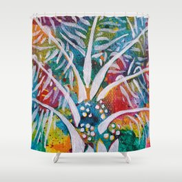 Leaves on the World Tree: Beti-Pahuin Dura Palm Shower Curtain