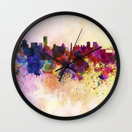 Montreal skyline in watercolor background Wall Clock