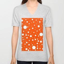 Mixed Polka Dots - White on Dark Orange Unisex V-Neck