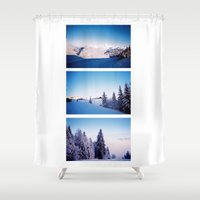 ski Shower Curtains featuring Alone and Ski by Han Caroline