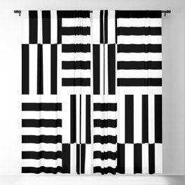 Geometrical abstract black white stripes pattern Blackout Curtain