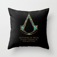 Assassins creed symbol and skyrim lexicon mashup Throw Pillow