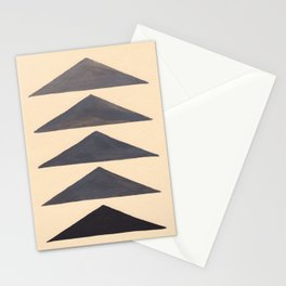 Gray Geometric Triangle Pattern With Black Accent Stationery Cards