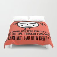philosophy Duvet Covers featuring Life Philosophy (Anonymous) Wall Art01 Color by Chicca Besso