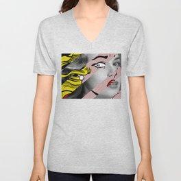 Roy Lichtenstein's Crying Girl & Grace K. Unisex V-Neck