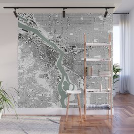 Portland, OR City Map Black/White Wall Mural