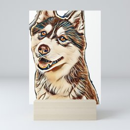 Portrait of a pretty husky dog looking away with mouth open isolated on a white background in a vert Mini Art Print