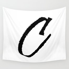 Letter C Ink Monogram Wall Tapestry
