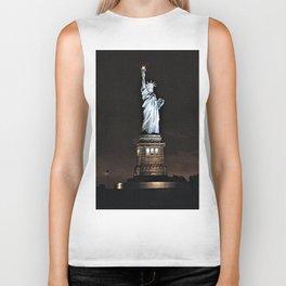 Nighttime Statue of Liberty and Flag Biker Tank