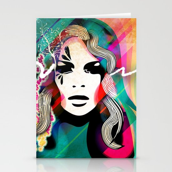 colorful hair Stationery Cards