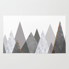 Marble Gray Copper Black and White Mountains Rug