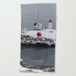 Nubble in Winter Beach Towel