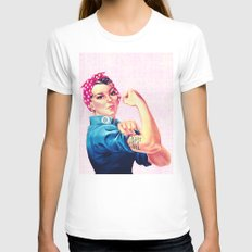 Fight Like A Girl Rosie The Riveter Girly Mod Pink White Womens Fitted Tee LARGE
