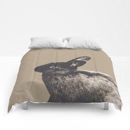 Little Rabbit on Sepia #1 #decor #art #society6 Comforters