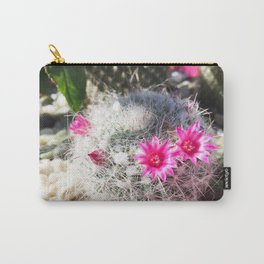 cactus in the desert with beautiful blooming pink flower Carry-All Pouch