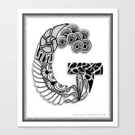 Zentangle G Monogram Alphabet Initials Canvas Print