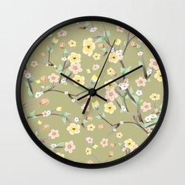 Green Spring Blossom Wall Clock
