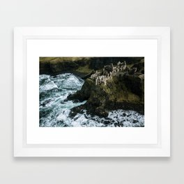 Castle ruin by the irish sea - Landscape Photography Framed Art Print