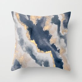 All that Shimmers – Gold + Navy Geode Throw Pillow
