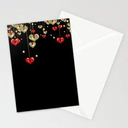 Beautiful glitter shine hearts on black Valentines Day greeting Stationery Cards