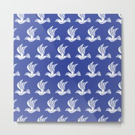 Flying Birds Pattern Blue Metal Print