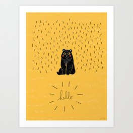 Bear Hello #nursery #bear #linocut #hello #mustardyellow Art Print