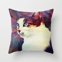 80s Throw Pillows featuring 80s Cat by Bunhugger Design