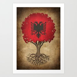 Vintage Tree of Life with Flag of Albania Art Print