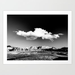 Black Sky Desert Landscape // Red Rock Canyon Las Vegas Nevada Mojave Mountain Range Art Print