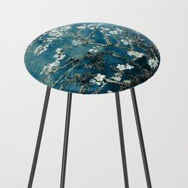 Van Gogh Almond Blossoms : Dark Teal Counter Stool